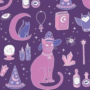 Mystical Cats in Purple