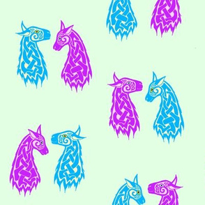 Celtic Llama 2 Turquoise and Purple on Mint
