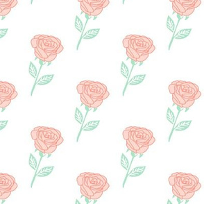 rose fabric // coral roses fabric florals baby nursery fabric - white
