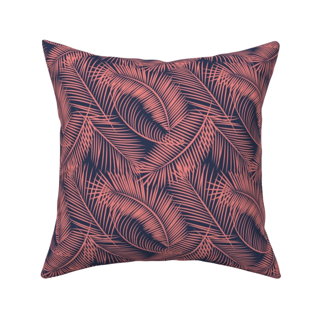 Catalan Throw Pillow featuring Tropical Palm Leaf Toss in Coral + Navy by elliottdesignfactory