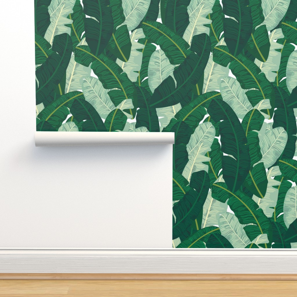 Isobar Durable Wallpaper featuring Classic Banana Leaves in Palm Springs Green by elliottdesignfactory