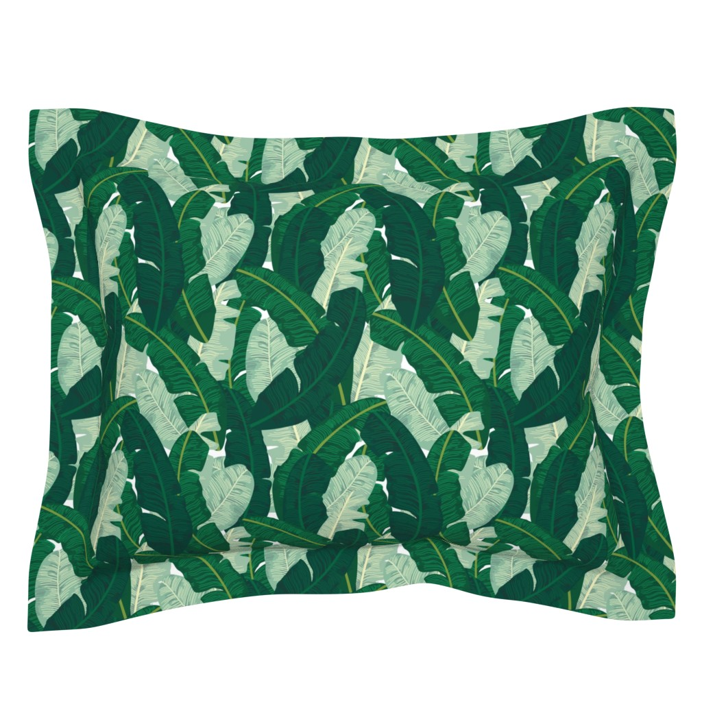 Sebright Pillow Sham featuring Classic Banana Leaves in Palm Springs Green by elliottdesignfactory
