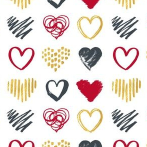 Hearts in gold and red