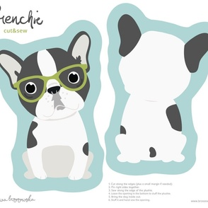 Frenchie - with green glasses cut and sew plushie