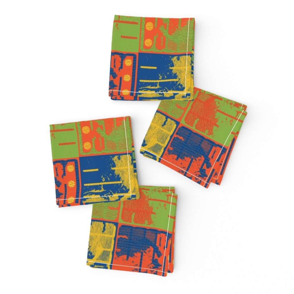 Frizzle Cocktail Napkins featuring Loud Squares by anniedeb