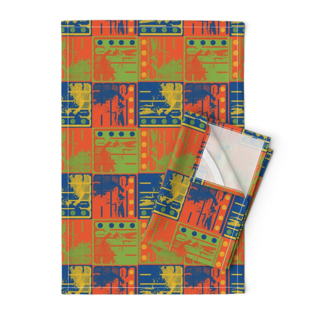 Orpington Tea Towels featuring Loud Squares by anniedeb