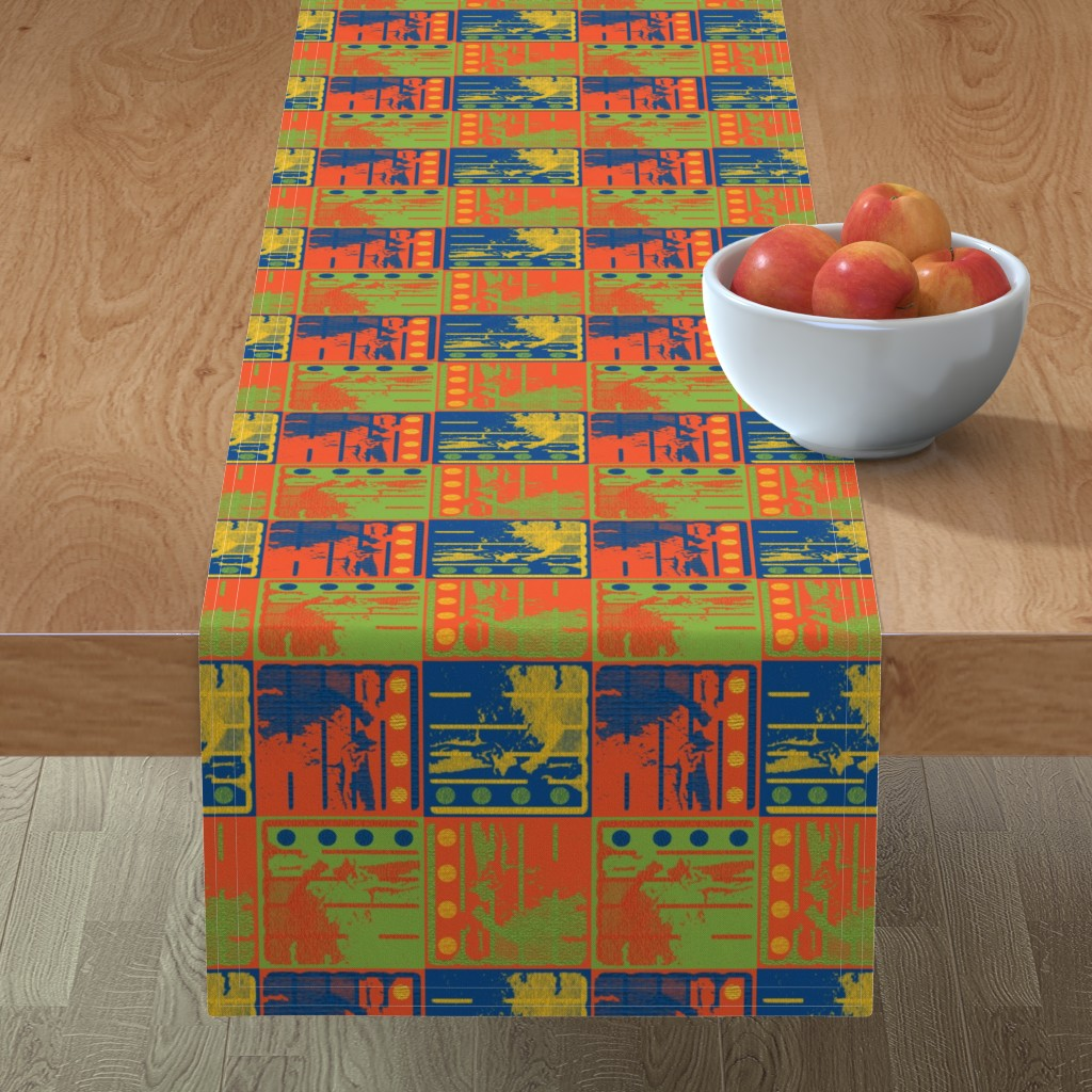 Minorca Table Runner featuring Loud Squares by anniedeb