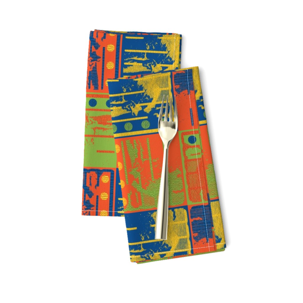 Amarela Dinner Napkins featuring Loud Squares by anniedeb