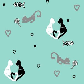 Love Cats in Teal