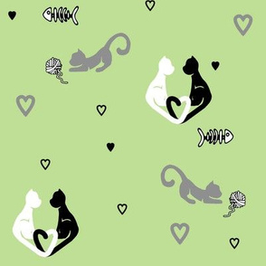 Love Cats in Green
