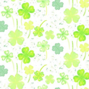 17-15F Irish Four leaf Clover St. Patrick's Day Watercolo_Miss Chiff Designs