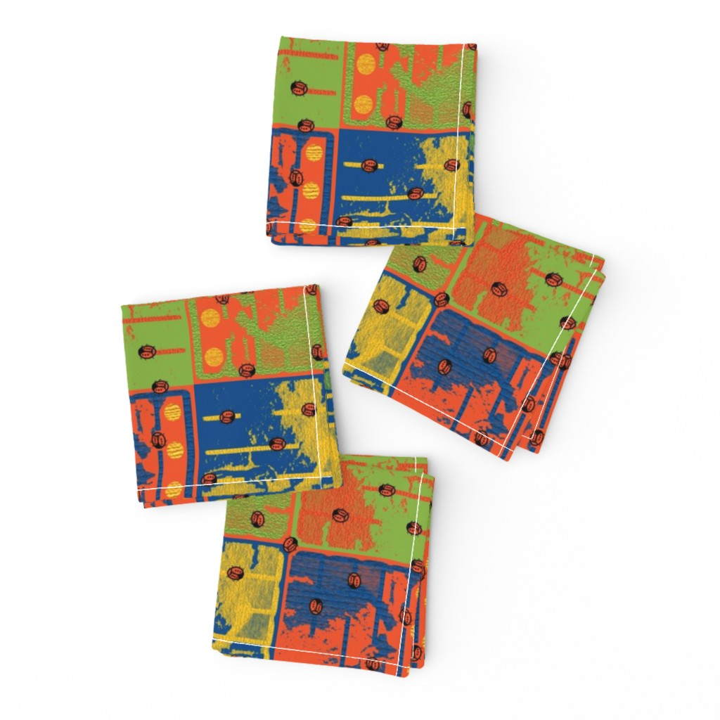 Frizzle Cocktail Napkins featuring Loud Squares with Random Ladybugs by anniedeb