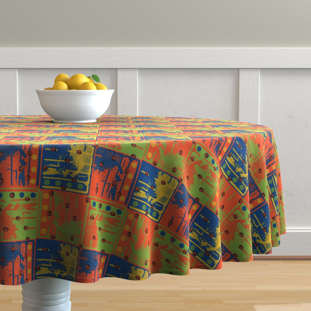 Malay Round Tablecloth featuring Loud Squares with Random Ladybugs by anniedeb