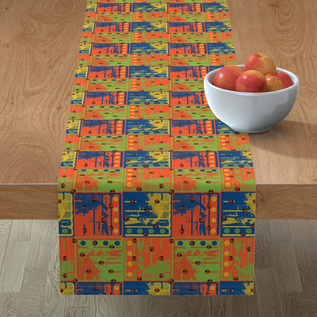 Minorca Table Runner featuring Loud Squares with Random Ladybugs by anniedeb