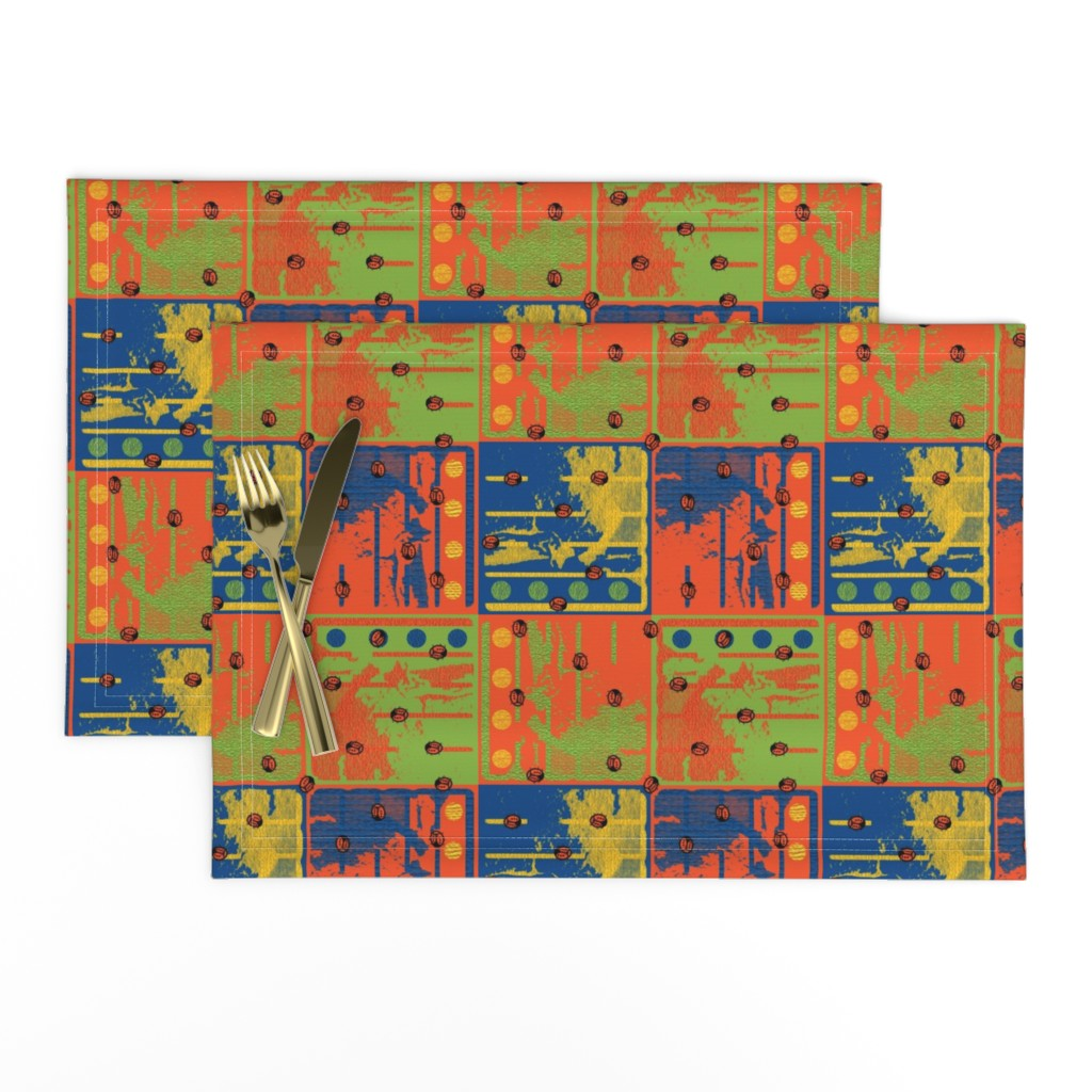Lamona Cloth Placemats featuring Loud Squares with Random Ladybugs by anniedeb