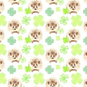 17-15B Watercolor Hedgehog Four Leaf Clover Irish St. Patrick's Day_Miss Chiff Designs