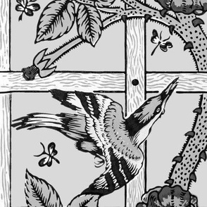 The William Morris Collection ~ Birds On A Trellis ~ Black and White on Silver Leaf