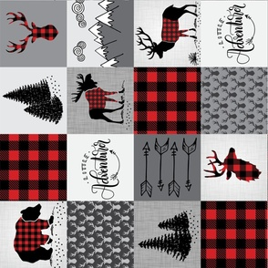 Buffalo plaid patchwork faux quilt (ROTATED) - 24 inch repeat