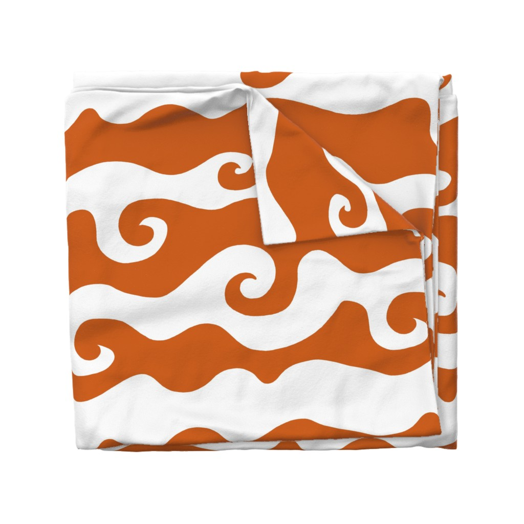 Wyandotte Duvet Cover featuring Swirly Wave - orangy by designergal
