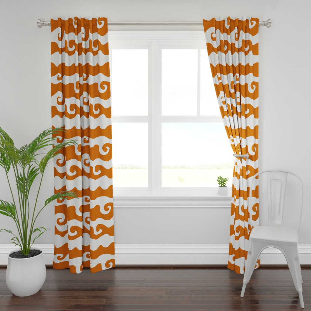 Plymouth Curtain Panel featuring Swirly Wave - orangy by designergal