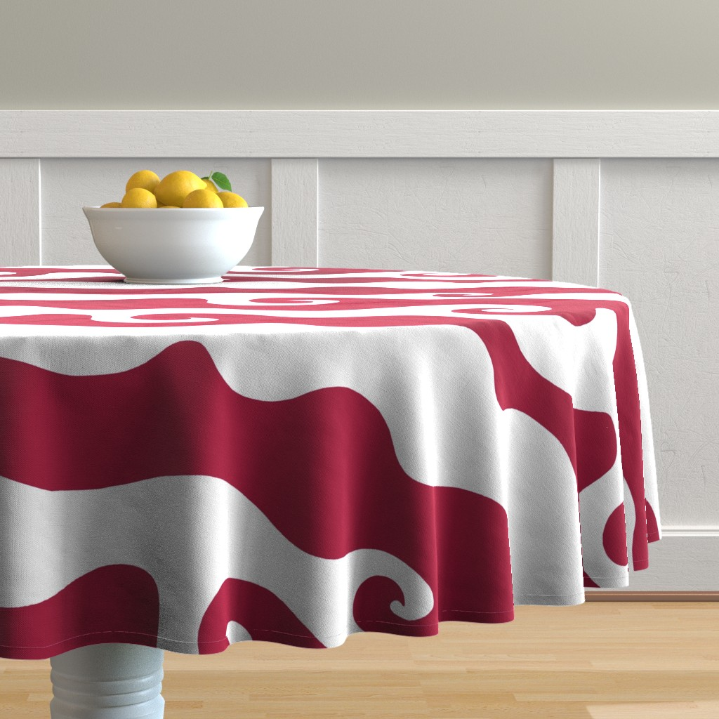 Malay Round Tablecloth featuring Swirly Wave - scarlett by designergal