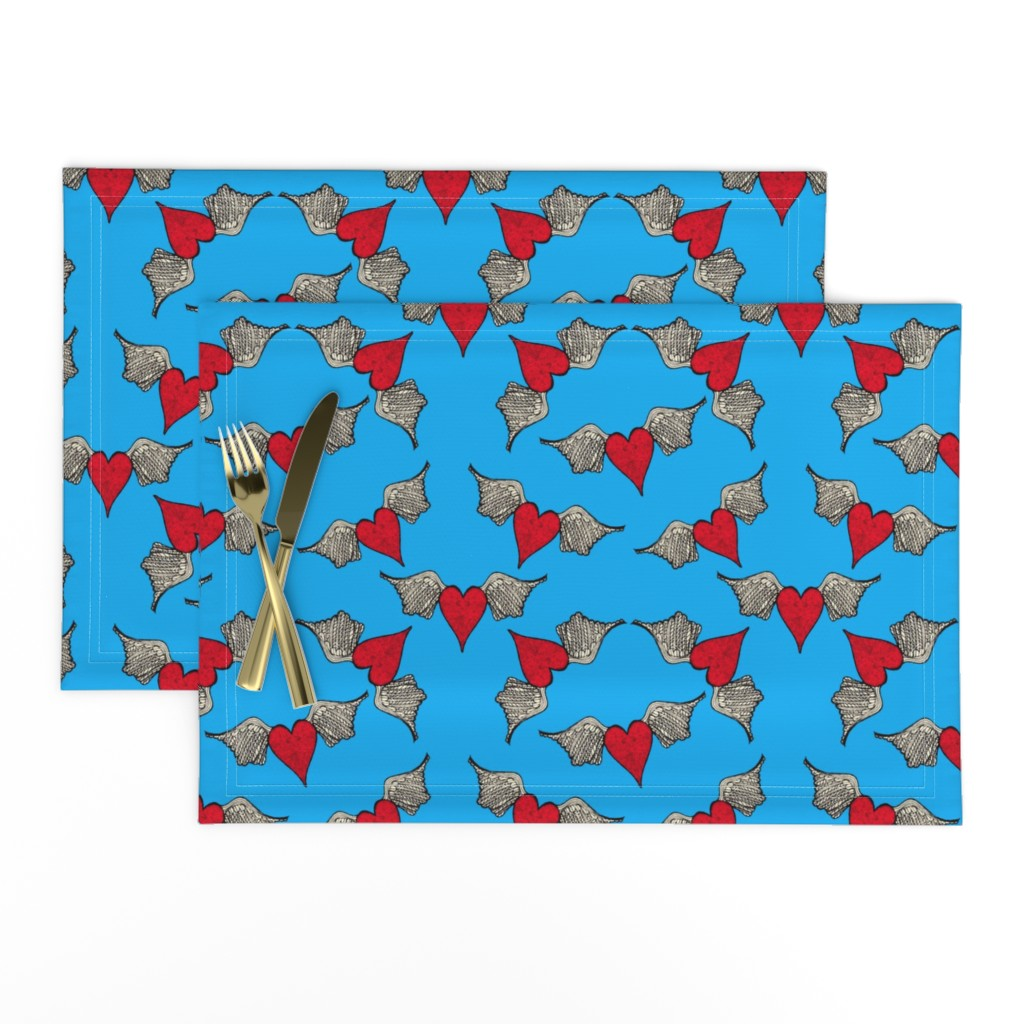 Lamona Cloth Placemats featuring Flying Heart by frutejuce