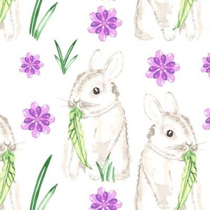 Baby Rabbit Large Watercolor || Easter Bunny Lilac Purple Green Gray Grey Lilac Animal Spring Floral _ Miss Chiff Designs