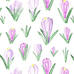 Watercolor Crocus  Flower floral || Lilac Purple Pink Yellow Green Easter Spring  _ Miss Chiff Designs