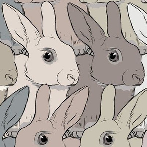 Rabbits brown,beige and grey