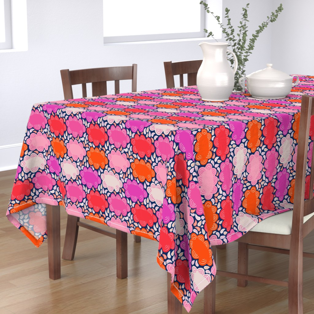 Bantam Rectangular Tablecloth featuring 8by8_spoonflower_pinks_clouds by joan_herlinger_design_&_illustration