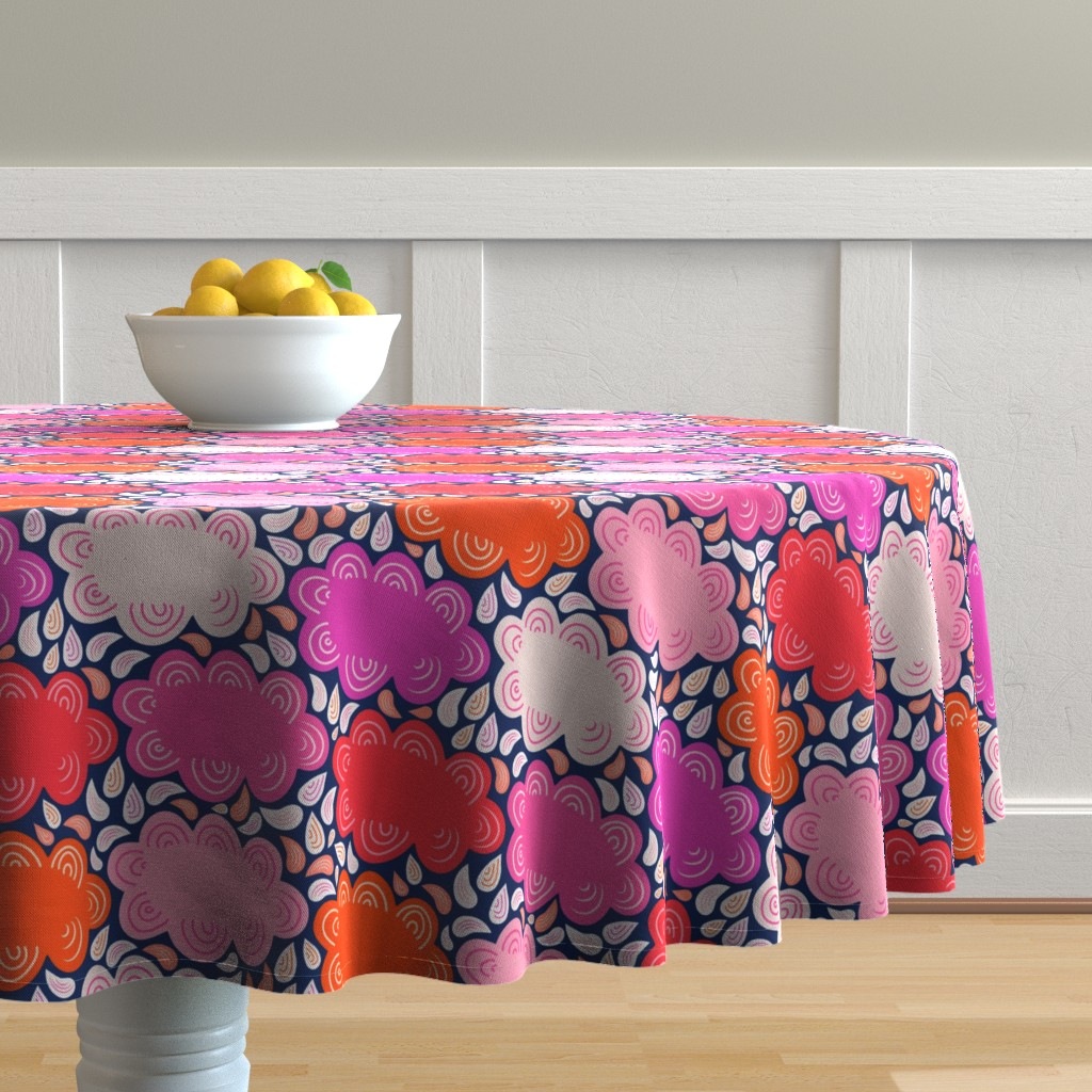 Malay Round Tablecloth featuring 8by8_spoonflower_pinks_clouds by joan_herlinger_design_&_illustration