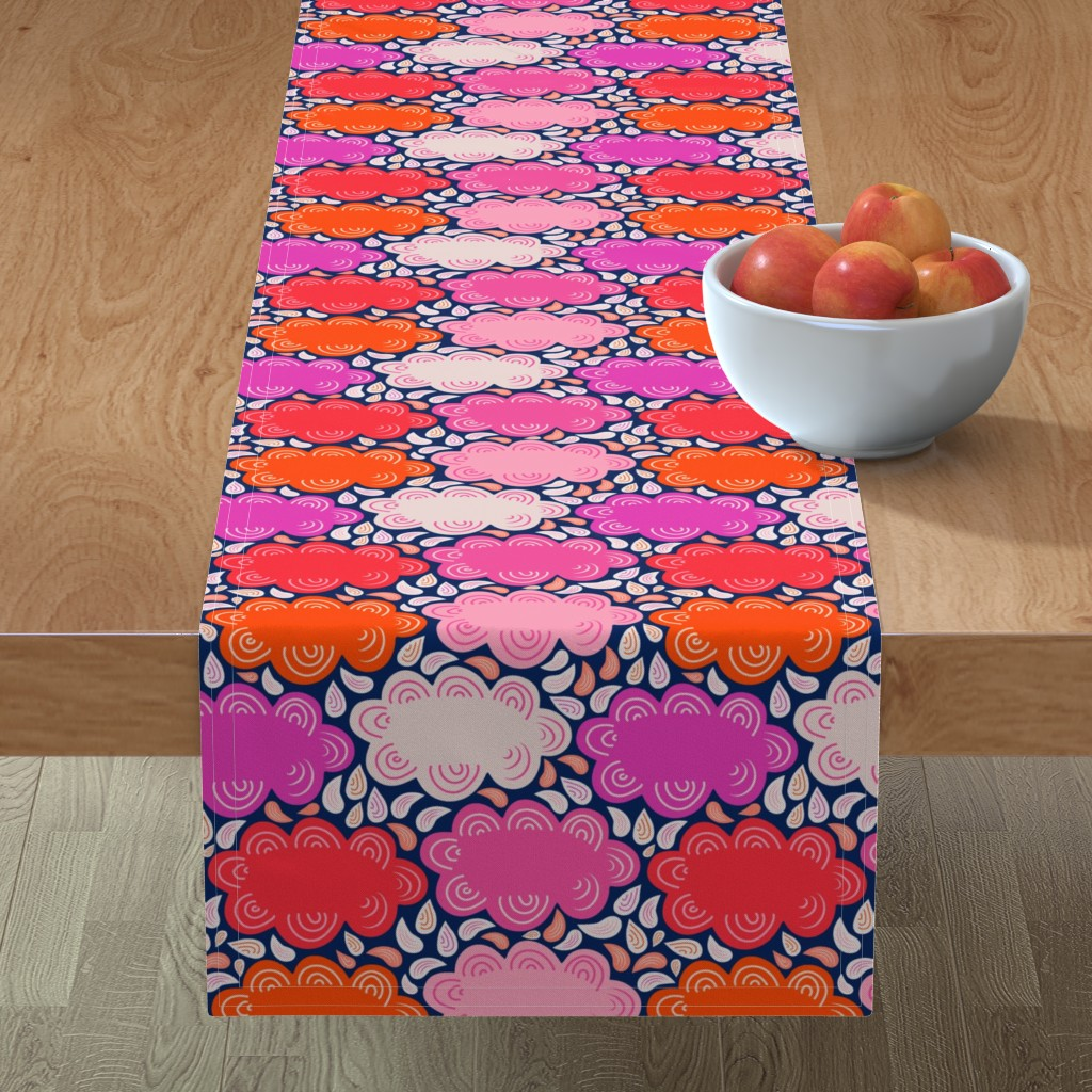 Minorca Table Runner featuring 8by8_spoonflower_pinks_clouds by joan_herlinger_design_&_illustration