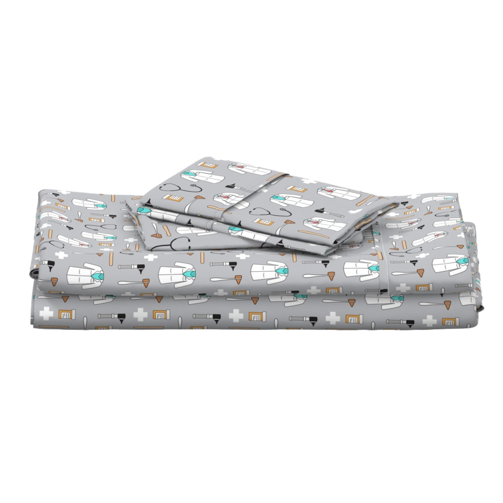 Langshan Full Bed Set featuring doctor/medical fabric by littlearrowdesign