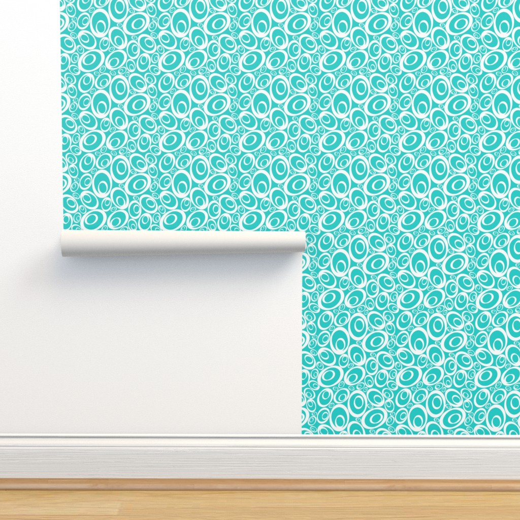 Isobar Durable Wallpaper featuring Funky Ovals - aqua inverse by designergal