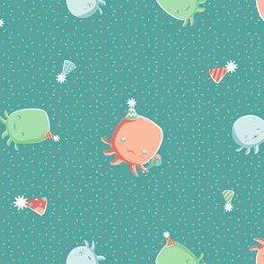 Kawaii Octopus Birthday Party on Teal