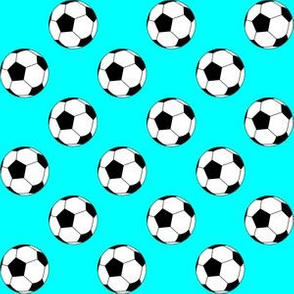 One Inch Black and White Soccer Balls on Aqua Blue