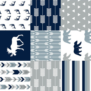 Woodland Wholecloth (moose and bear) 90 || navy, rustic woods blue, grey
