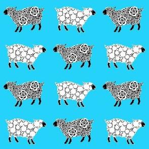 Cottonball Celtic Sheep on blue