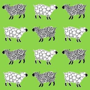 Cottonball Celtic Sheep on green