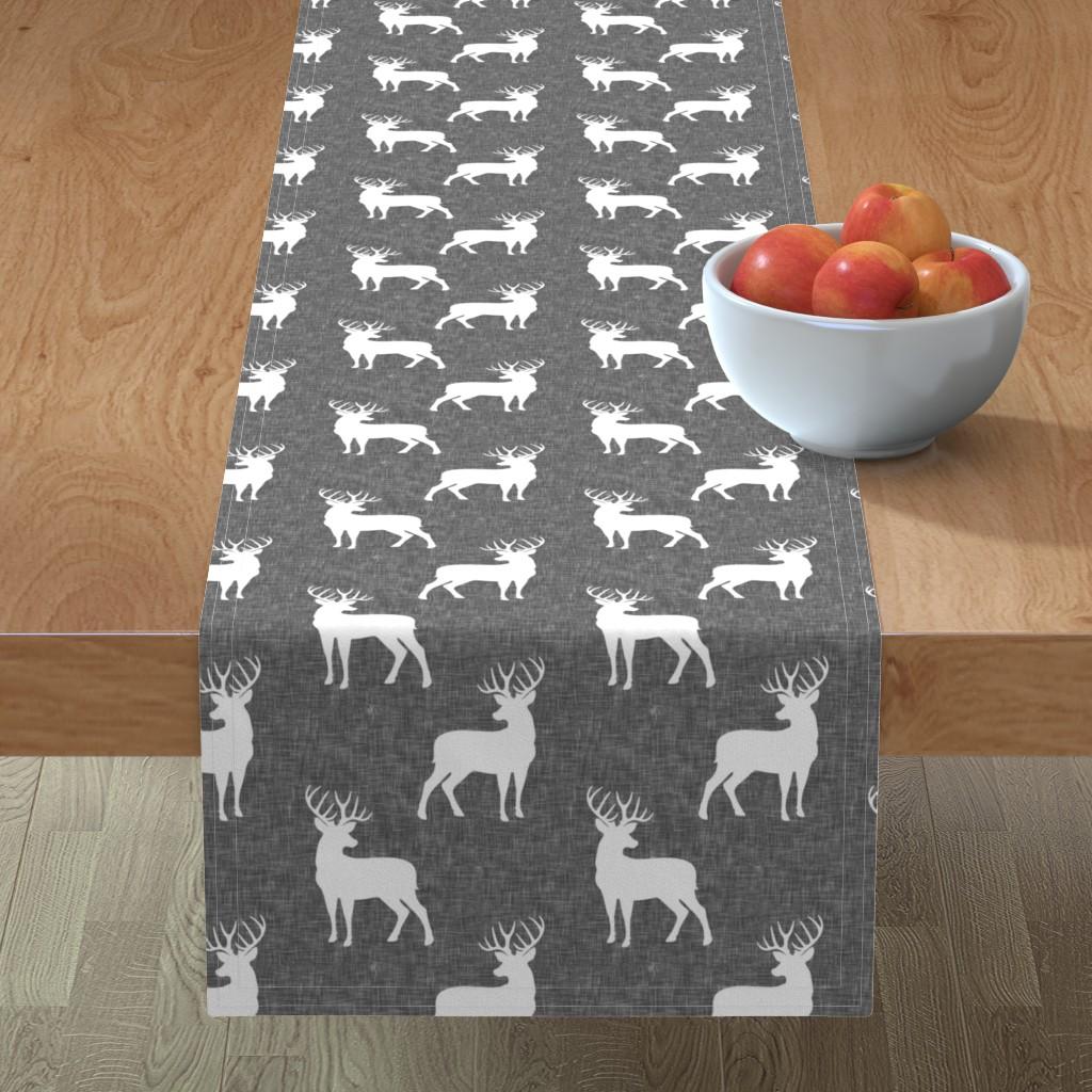 Minorca Table Runner featuring bucks on grey linen by littlearrowdesign