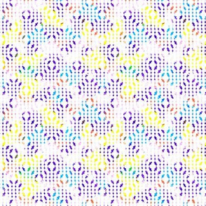 white mesh pattern with crayon background violet - yellow