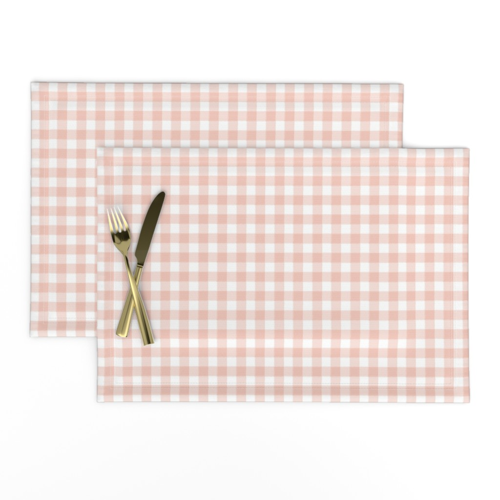 Lamona Cloth Placemats featuring Tiny Buffalo Check Plaid Blush Pink by sugarfresh
