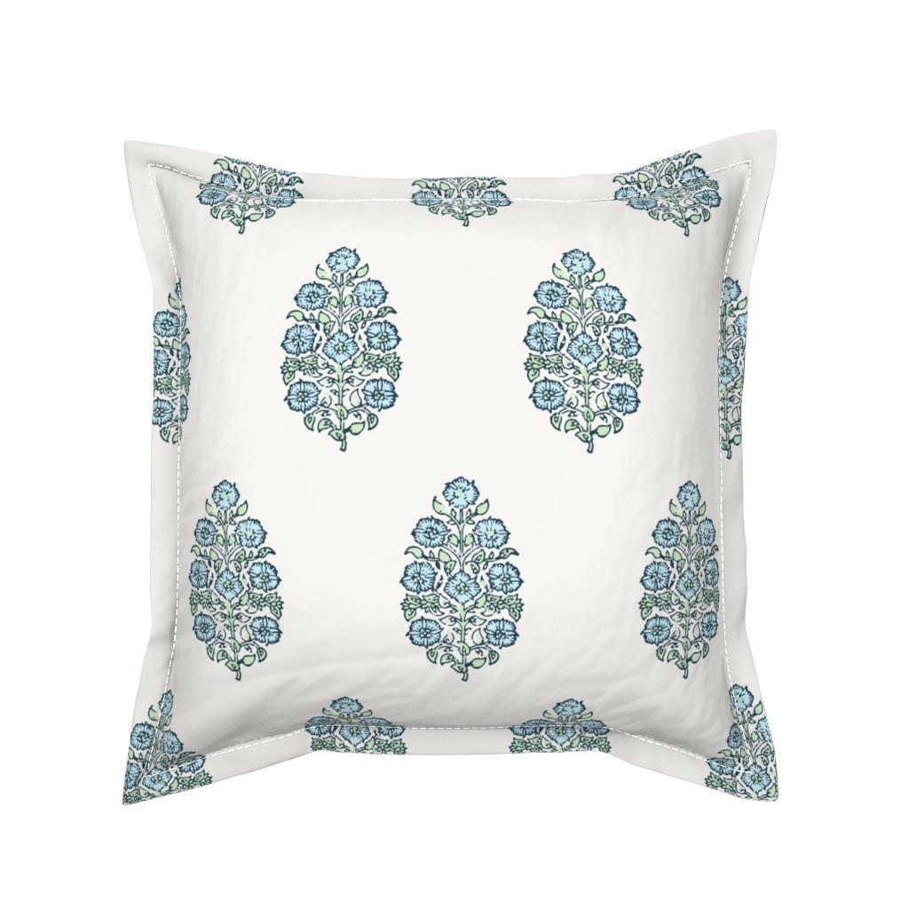 Serama Throw Pillow featuring Mughal Flower Indian Block Print Fabric Green Blue by mlags