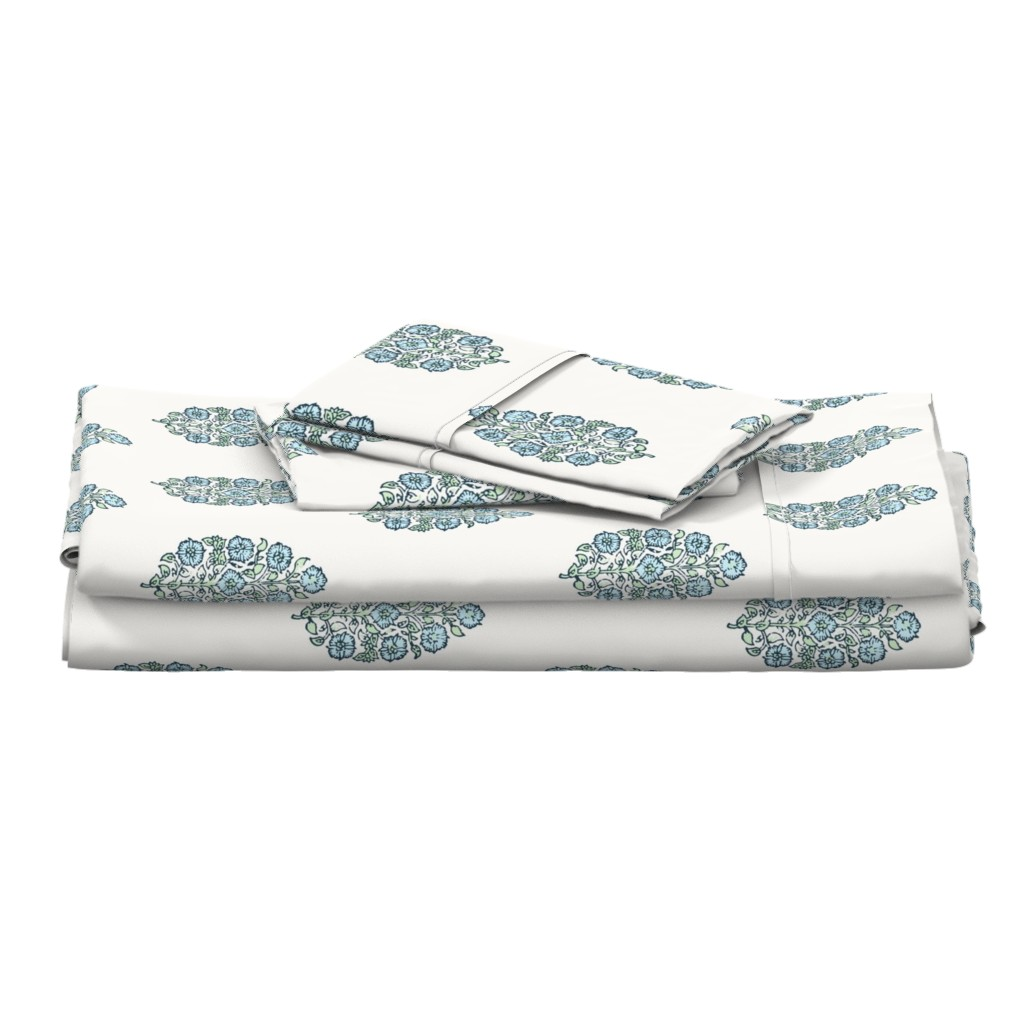 Langshan Full Bed Set featuring Mughal Flower Indian Block Print Fabric Green Blue by mlags