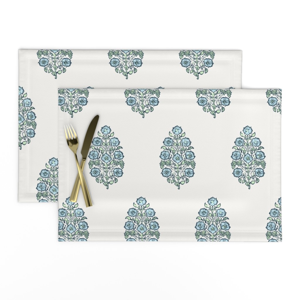 Lamona Cloth Placemats featuring Mughal Flower Indian Block Print Fabric Green Blue by mlags