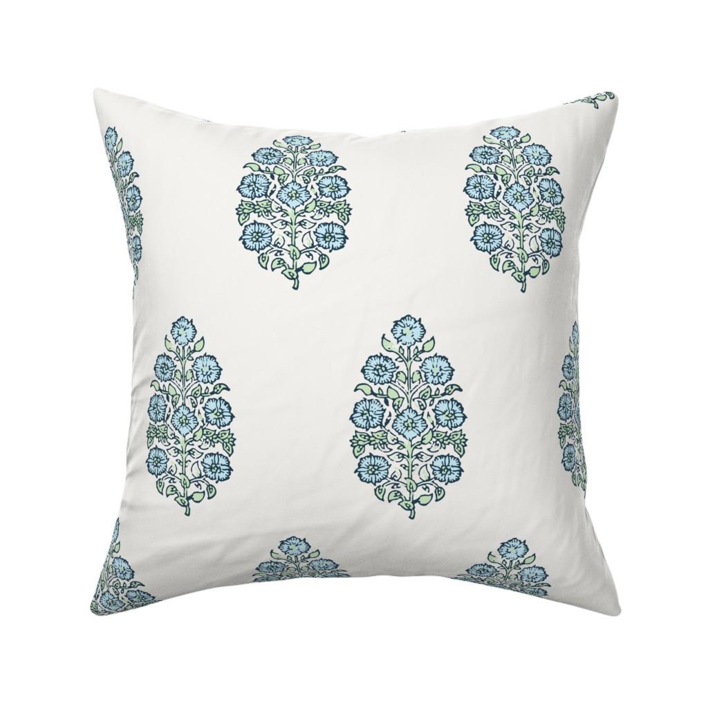 Catalan Throw Pillow featuring Mughal Flower Indian Block Print Fabric Green Blue by jenlats