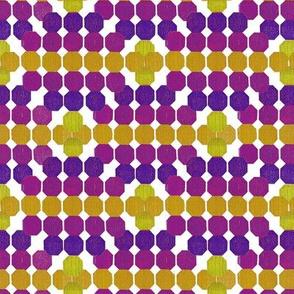 Cheerful Geometric Octagon Pattern Violet - Yellow