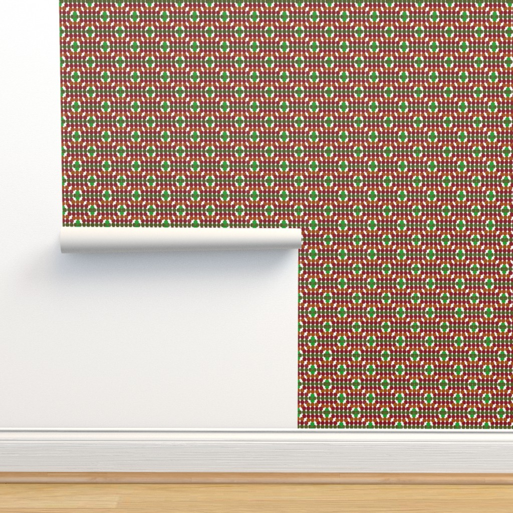 Isobar Durable Wallpaper featuring Cheerful Geometric Octagon Pattern Green - Red by ms_hey_textildesign