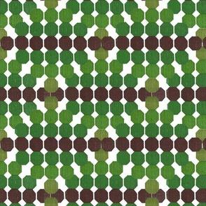 Refreshing  Geometric Octagon Pattern Green - Brown