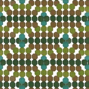 Harmonic  Geometric Octagon Pattern  Green - Turquoise